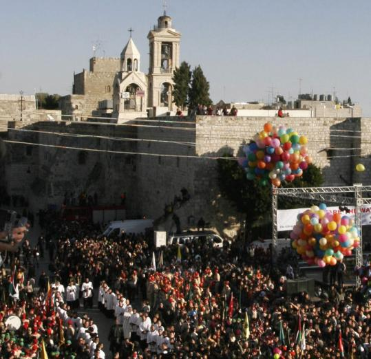 Christians gathered in Manger Square in front of the Church of the Nativity, believed by many to be the birthplace of Jesus.