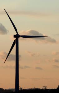 A wind turbine in Hull. Cape Wind wants to erect 130 energy-generating turbines in Nantucket Sound.