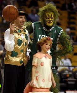 The Grinch with Lucky the Leprechaun and Maya Goldman before the Celtics game last night at the Garden.