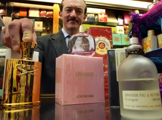 Above: At Colonial Drug, J.P. Botindari shows off some of the apothecary's vast assortment of fragrances. Below: samples from the Fresh line at Beauty and Main.