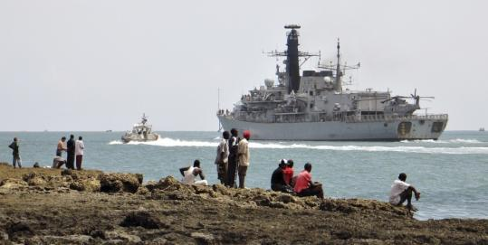The Royal Navy frigate Northumberand left the Kenyan port of Mombasa Sunday, the first ship to begin escorting World Food Program aid to Somalia. Pirates have turned the coastline into a high-risk area.