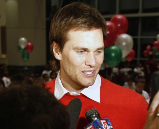 Tom Brady was a surprise visitor at the Patriots' charity event yesterday.