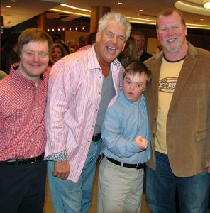 From left: Michael Goodhue of Hingham, Lenny Clarke, ''The Child King'' star Peter Johnson, and Steve DeOssie.