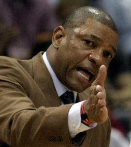 Celtics coach Doc Rivers disagrees with a first-half call.