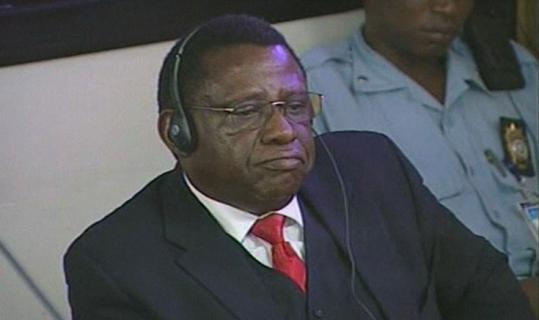 Theoneste Bagosora in the court at the International Criminal Tribunal for Rwanda, in Arusha, Tanzania, yesterday.