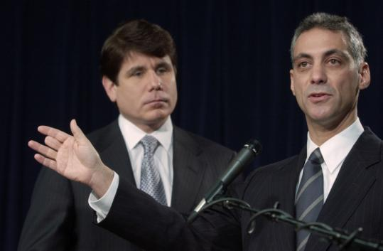 In this Dec. 22, 2003, photo, then-US Representative Rahm Emanuel answered a question as Illinois Governor Rod Blagojevich listened during a news conference in Chicago.