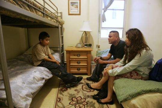 Alexis Rodriguez talked Friday to his dad, Alex Rodriguez, and mother, Rosa Estevez, in the shelter where the family lives after both parents lost their jobs in San Francisco.