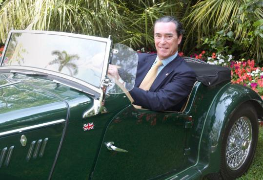 Robert Jaffe in his vintage MG from the Palm Beach Daily News annual selection of stylish Palm Beachers.