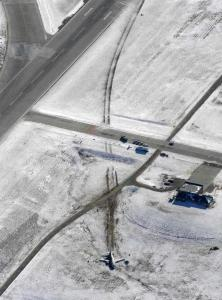This Boeing 737 left a trail through the snow when it veered off the runway at Denver International Airport Saturday.