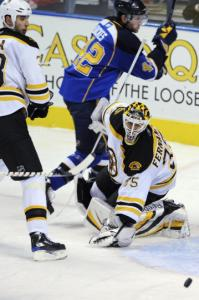 From the looks of things, Zdeno Chara and Manny Fernandez don't have to worry about this attempt by David Backes.