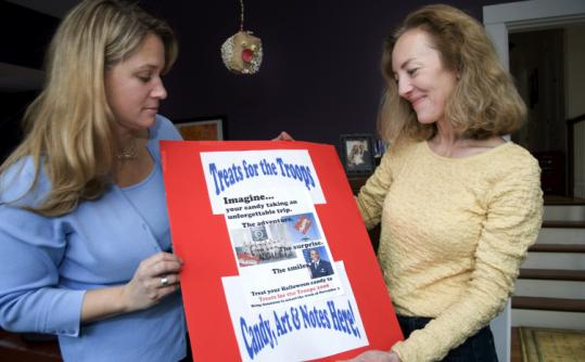 JODI HILTON FOR THE BOSTON GLOBERikki Conley (left) and Ann Marie Kreft said Weston children have donated nearly 3,000 pounds of candy to soldiers abroad.