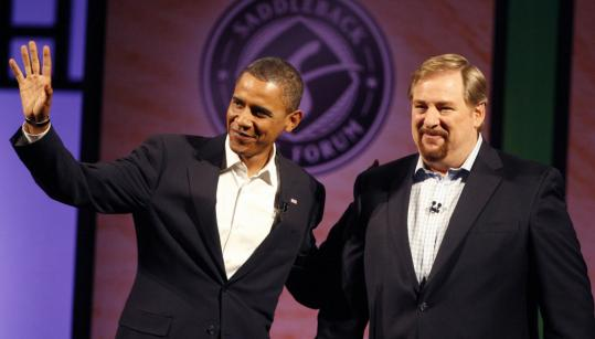 President-elect Barack Obama with Pastor Rick Warren of Saddleback Church, in August.