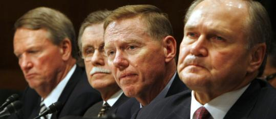 GM's Rick Wagoner (from left), auto union leader Ron Gettel- finger, Ford's Alan Mulally, and Chrysler's Robert Nardelli.