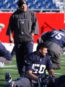 One thing is for certain: Patriots linebacker Mike Vrabel (50) hasn't been sitting down on the job for coach Bill Belichick.