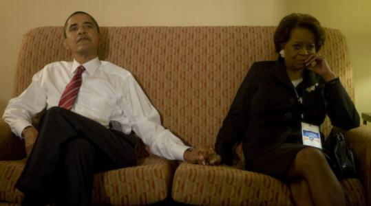 Barack Obama and his mother-in-law, Marian Robinson, held hands as they watched election-night returns.