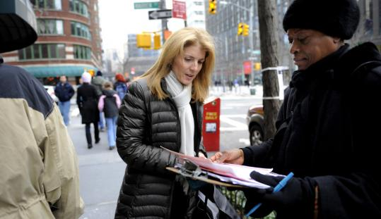 Caroline Kennedy spoke with Save the Children worker Virginia Snead in New York yesterday.