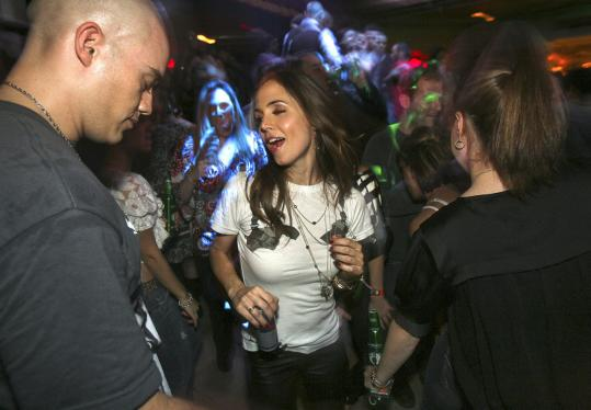Eliza Dushku celebrating her 28th birthday at a private party at The Estate.