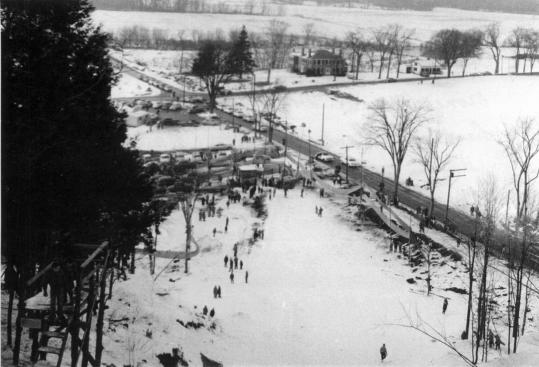 A 1950s view from atop Norseman's Hill, at routes 117 and 110 in Bolton; the family operation closed in about '57, after three dry winters in a row.