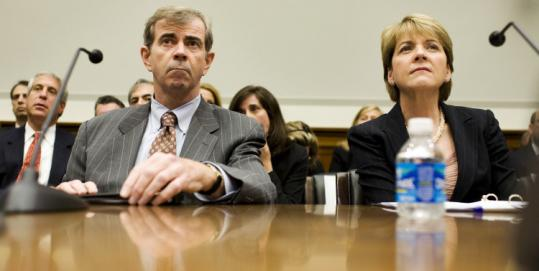 Massachusetts Secretary of State William Galvin and state Attorney General Martha Coakley attended the US House Financial Services hearing on auction-rate securities.