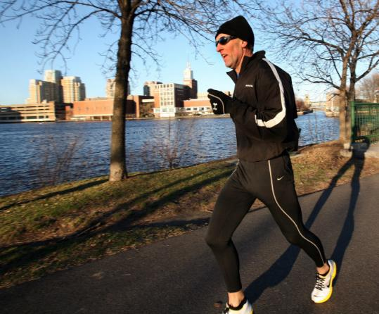 Gary Allen practiced near Storrow Drive this week for his running of the Boston Marathon course.