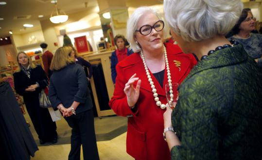 During the fall, Talbots introduced hostess parties. CEO Trudy Sullivan (above) chatted with customers at a Back Bay store gathering.