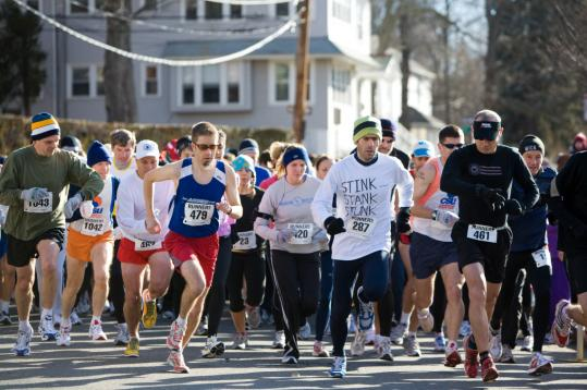 Competitors in the older age divisions of Walter's Run negotiated a 5-kilometer course through the streets of West Roxbury last month.