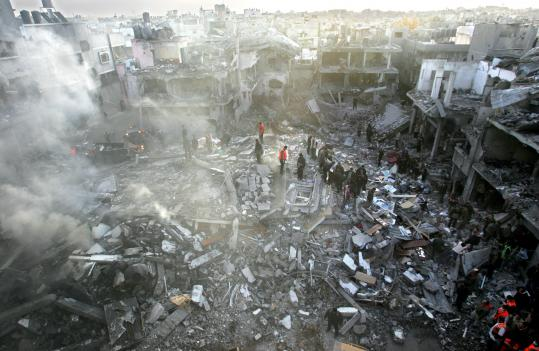 Abid Katib/Getty ImagesPalestinians searched for bodies yesterday in the rubble of the destroyed house of Hamas senior leader Nizar Rayyan in the refugee camp of Jabaliya in Gaza.