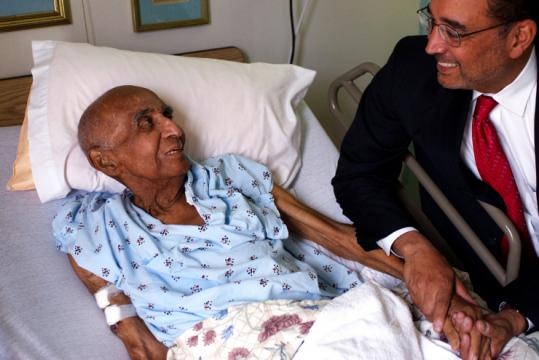 Evelio Grillo, 89, was one of thousands of black soldiers who suffered to build the 1,079-mile Stilwell Road. He was shown with his son, California Superior Court Judge Evelio M. Grillo.