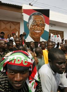Supporters of John Atta Mills of the opposition National Democratic Congress party in Ghana celebrated their candidate's win yesterday after elections in Accra.