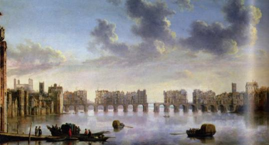 ''Old London Bridge,'' circa 1630, by Claude de Jongh is a view of the Thames.