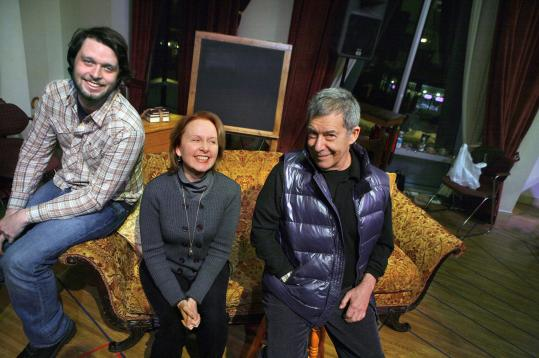Morgan Ritchie (left) with his costar and mother, Kate Burton, and director Nicholas Martin after a rehearsal for ''The Corn Is Green'' last week.