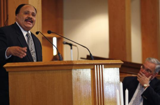 Martin Luther King III spoke during a visit to the Twelfth Baptist Church along with Mayor Thomas M. Menino.