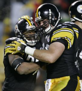 Steelers running back Willie Parker (left) celebrates his fourth-quarter TD with Sean McHugh.