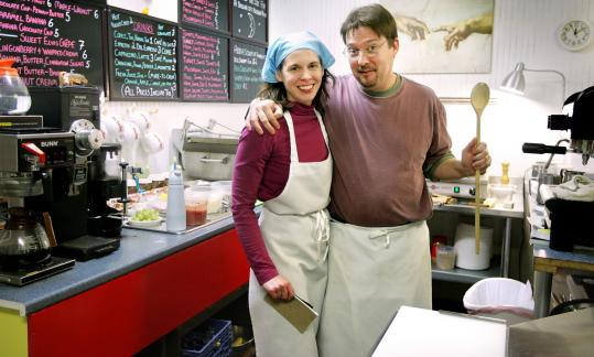 Above: Chris and Theresa Therrien run the Silver Moon Creperie in Dover, N.H. Specialties include maple walnut crepes (below) and sweet potato soup (bottom).