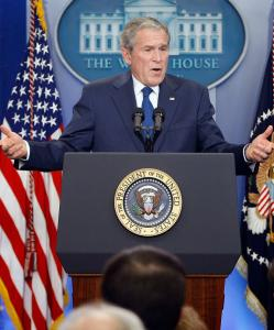 President Bush fielded questions from reporters for nearly an hour yesterday. He showed flashes of anger and frustration as he defended his eight years in office.