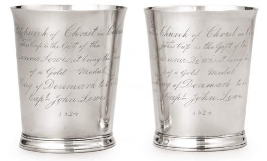 Two beakers dating to 1824, memorializing a 1793 sea rescue, are among silver to be auctioned to benefit the Cohasset church.