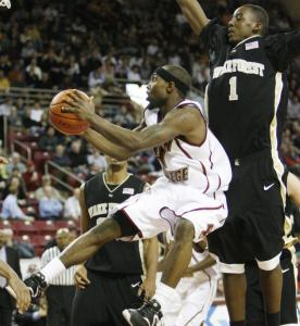 Boston College guard Tyrese Rice (20 points) gets past Wake's Al-Farouq Aminu and gets airborne heading to the basket.