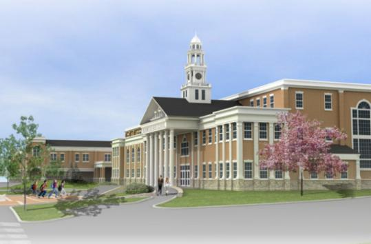 An architectural rendering of the proposed Norwood High School, which is set for a vote at the March 23 Town Meeting.