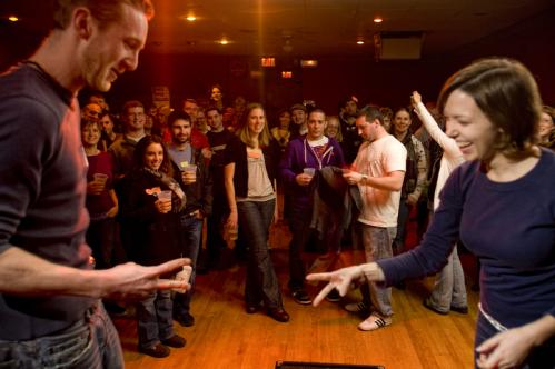 A crowd watched Mark Guerino of Cambridge and Ali Carter of Somerville go head to head at the tournament. Carter won the best-of-five round. 'I'm still feeling the juice. I'm still pumped,' she said after the match. More info on P.A.'s Lounge SUBMIT Your nightlife photos! TALK What scene should we visit next?