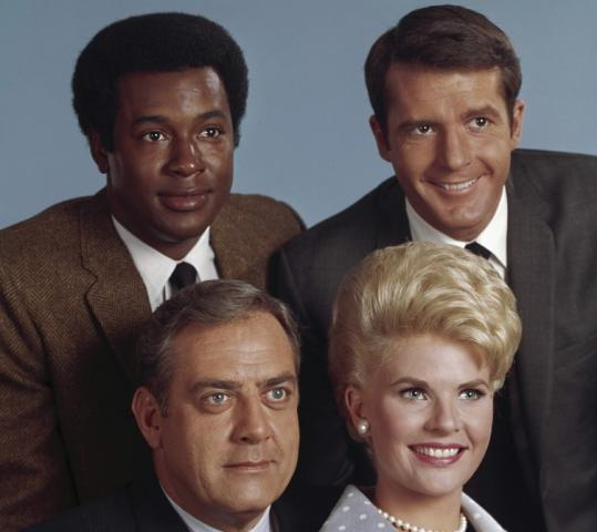 Don Galloway (rear right) was Detective Sergeant Ed Brown on the television show ''Ironside,'' starring Raymond Burr (front left), and co-starring Don Mitchell and Barbara Anderson.