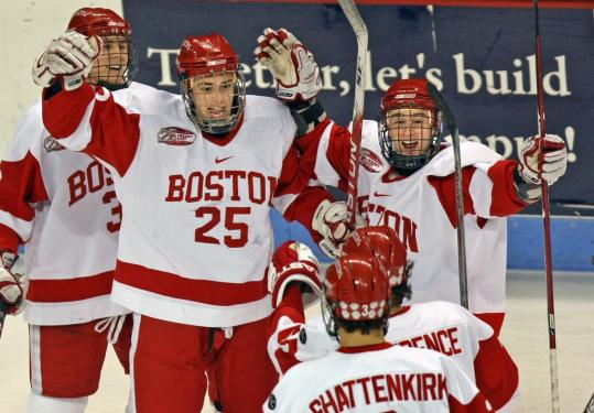 There's no masking the happiness of Colby Cohen (25), a healthy scratch Friday, after he scored BU's second goal.