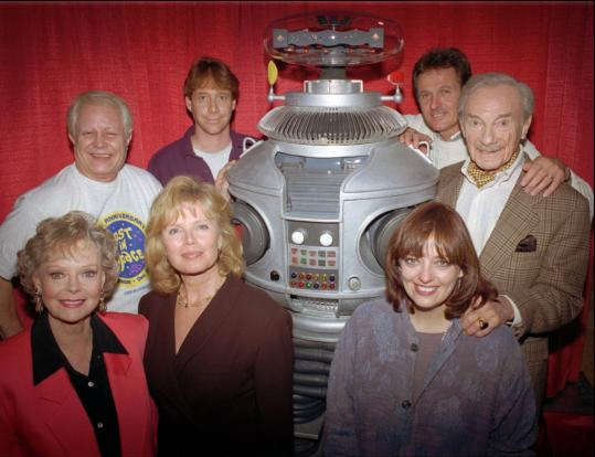 The original cast of ''Lost in Space'' included, clockwise from back row, Bob May; Bill Mumy; Mark Goddard; Jonathan Harris; Angela Cartwright; Marta Kristen; and June Lockhart.