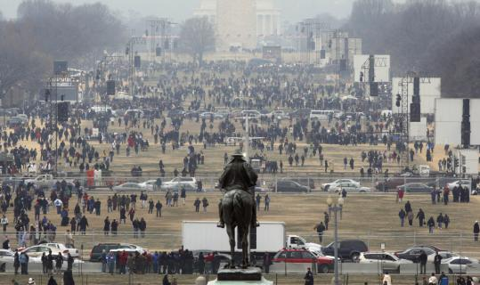 Thousands visited the National Mall near the Washington Monument yesterday.