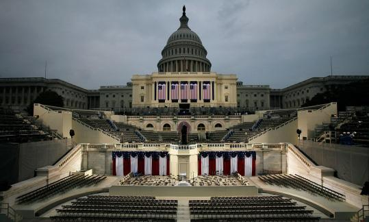 The stage is set in front of the Capitol, where Barack Obama will be sworn in today as the 44th president. Up to 2 million people are expected in Washington for the ceremony and festivities.