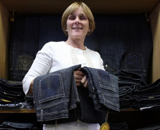 JONATHAN WIGGS/GLOBE STAFFSusan Trachik wanted to create jeans that fit all kinds of women so she founded the Boston Jean Company. Her jeans feature iconic Boston images on the pockets.
