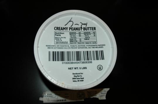Lab tests found salmonella in a 5-pound container of King Nut peanut butter from a Minnesota nursing home.