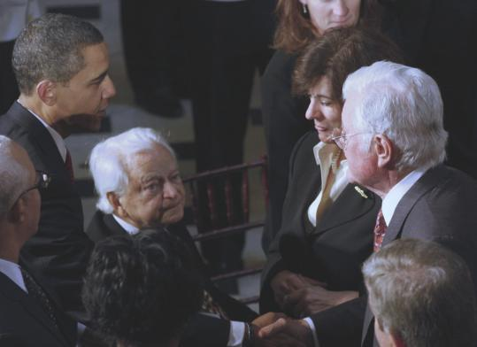 Senator Edward M. Kennedy greeted Senator Robert Byrd as President Obama spoke with Victoria Reggie Kennedy during the inaugural luncheon in Statuary Hall yesterday.