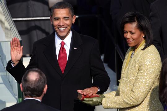 Barack Hussein Obama, alongside his wife, Michelle, was sworn in as the 44th president of the United States yes