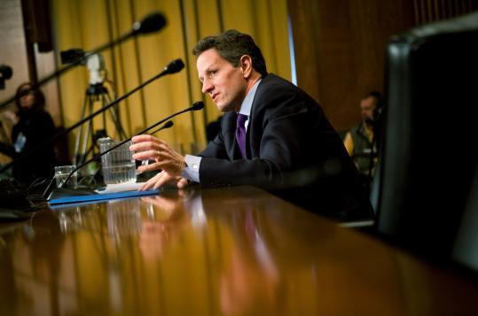 Timothy Geithner, President Obama's nominee for Treasury secretary, at his Senate confirmation hearing yesterday. He said the new administration's economic plan includes ''fundamental reform'' of the $700 billion financial rescue package.