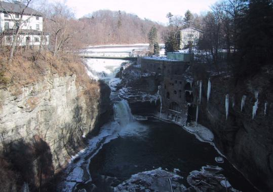 Triphammer Falls, with an abandoned power station at its base, sits right on the Cornell University campus. From the A.D. White Library, visitors can enjoy great views of the city.